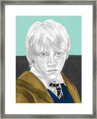 Ron Weasley - Individual Turquoise Framed Print by Alexander Gilbert