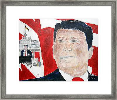 Ronald Reagan And Mikhail Gorbachev Tear Down These Walls Framed Print by Richard W Linford
