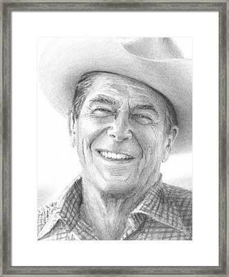 Ronald Reagan Drawing Closeup Mike Theuer Framed Print by Mike Theuer