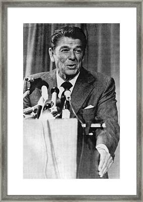 Ronald Reagan Michigan Primary Framed Print by Underwood Archives