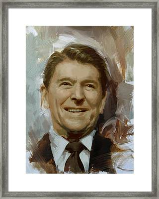 Ronald Reagan Portrait Framed Print by Corporate Art Task Force