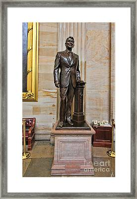 Ronald Regan -  U S Capitol Statuary Hall Framed Print by Allen Beatty
