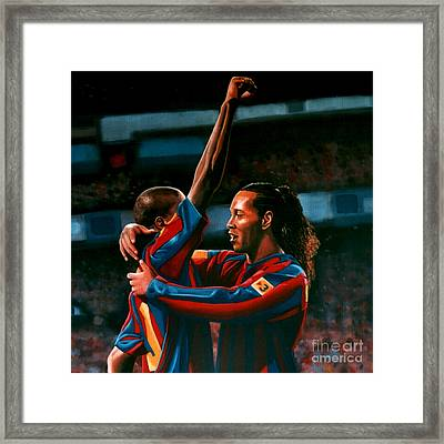 Ronaldinho And Eto'o Framed Print by Paul Meijering