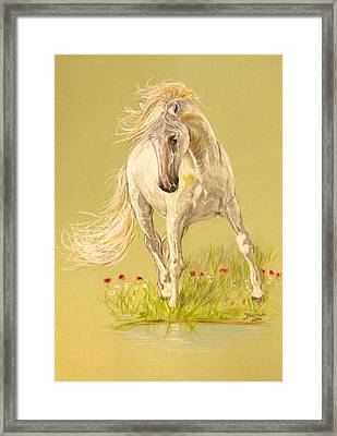 Framed Print featuring the pastel Rondeno by Janina  Suuronen