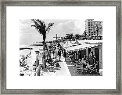 Roney Plaza Cabana Sun Club Framed Print by Underwood & Underwood