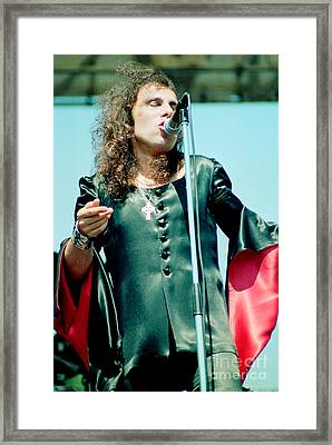 Ronnie James Dio Of Black Sabbath During 1980 Heaven And Hell Tour  Framed Print by Daniel Larsen