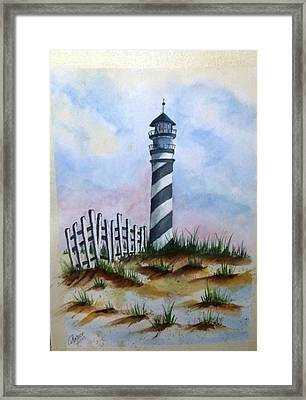 Framed Print featuring the painting Ron's Lighthouse by Richard Benson