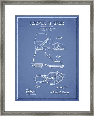 Roofers Shoe Patent From 1911 - Light Blue Framed Print by Aged Pixel
