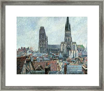 Roofs Of Old Rouen Grey Weather  Framed Print by Camille Pissarro