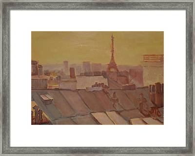 Framed Print featuring the painting Roofs Of Paris by Julie Todd-Cundiff