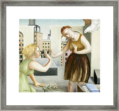 Rooftop Annunciation One Framed Print by Caroline Jennings