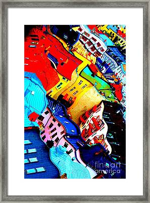 Rooftop Abstract - Bold Colors Framed Print by Carol Groenen