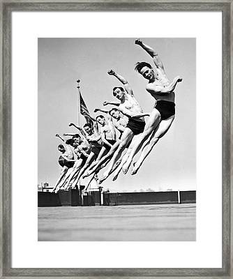 Rooftop Dancers In New York Framed Print by -