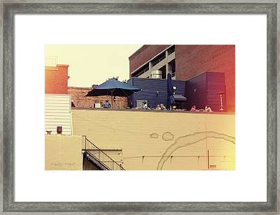 Rooftop Lunch Framed Print by Paulette B Wright