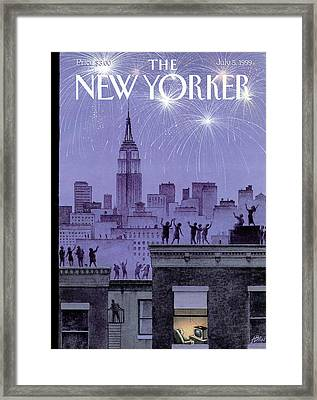 Rooftop Revelers Celebrate New Year's Eve Framed Print