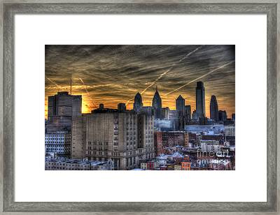 Rooftop Sunset Philadelphia Framed Print