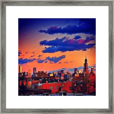 Rooftop Sunset Skyline #chicago Framed Print