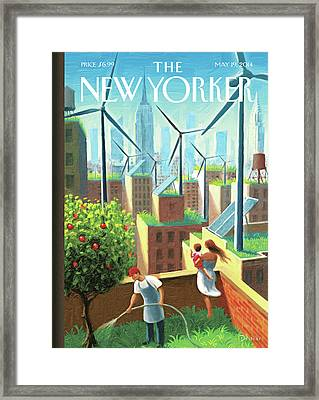 Rooftop Urban Gardening In New York Framed Print by Eric Drooker