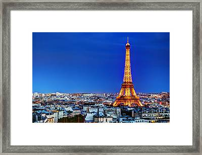 Rooftop View On The Eiffel Tower Framed Print