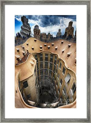 Rooftop With Chimneys Of Casa Mila Framed Print by George Oze