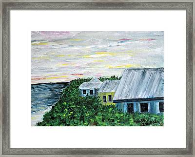 Framed Print featuring the painting Rooftops At Sunset by Debbie Baker