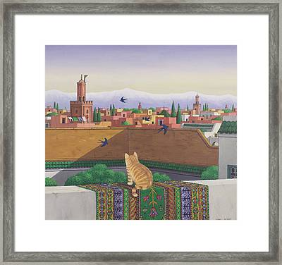 Rooftops In Marrakesh Framed Print by Larry Smart