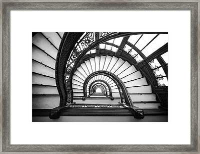 Rookery Building Oriel Staircase - Black And White Framed Print