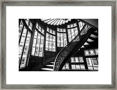 Rookery Building Winding Staircase And Windows - Black And White Framed Print