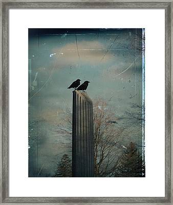 Room For Two Crows On A Column  Framed Print by Gothicrow Images