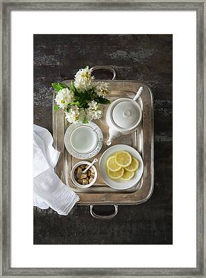 Room Service, Tea Tray With Lemons Framed Print by Pam Mclean