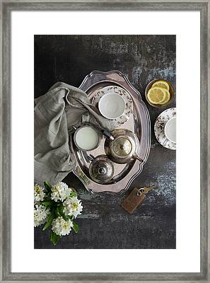 Room Service, Tea Tray With Milk And Framed Print by Pam Mclean