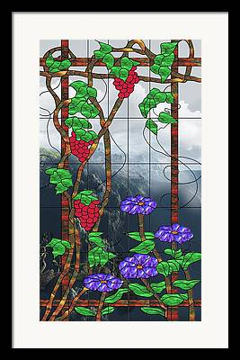 Landscape With Mountains Mixed Media Framed Prints