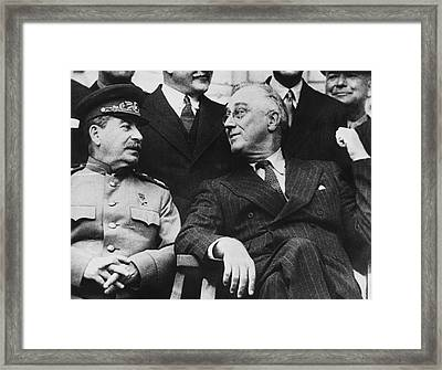Roosevelt And Stalin Framed Print by Underwood Archives