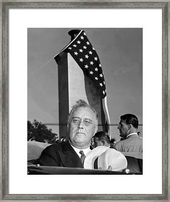 Roosevelt At Gettysburg Framed Print by Underwood Archives