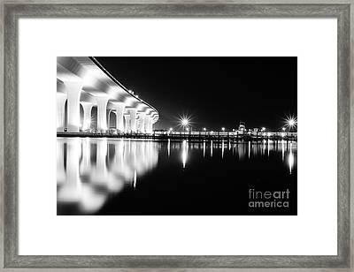 Roosevelt Bridge And Night Train B W Framed Print by Lynda Dawson-Youngclaus