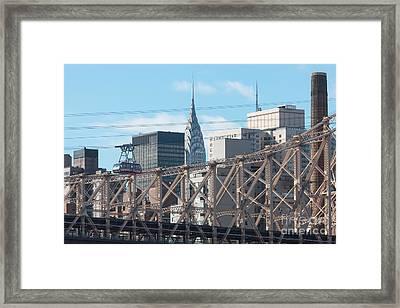 Roosevelt Island Tram And Manhattan Skyline I Framed Print by Clarence Holmes