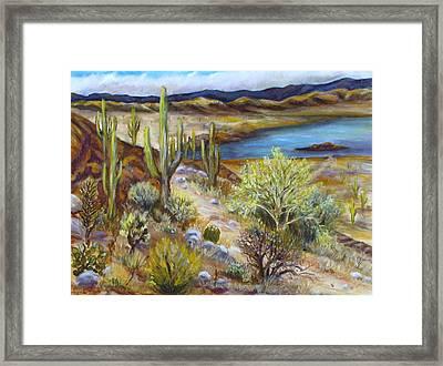 Roosevelt Lake Framed Print by Caroline Owen-Doar