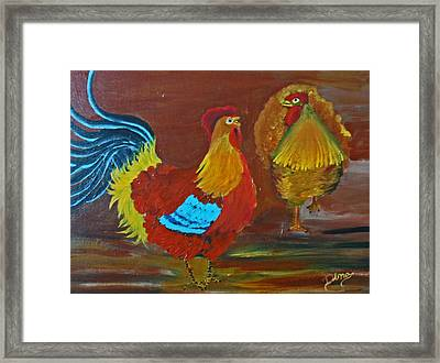 Rooster And Hen Framed Print by Dina Jacobs