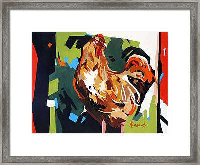 Rooster Design In Acrylic Framed Print by Rae Andrews