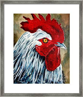 Framed Print featuring the painting Rooster Doodle by Julie Brugh Riffey