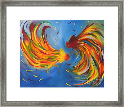 Framed Print featuring the painting Rooster Fight by Fanny Diaz