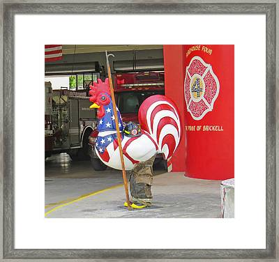 Rooster Fireman Framed Print