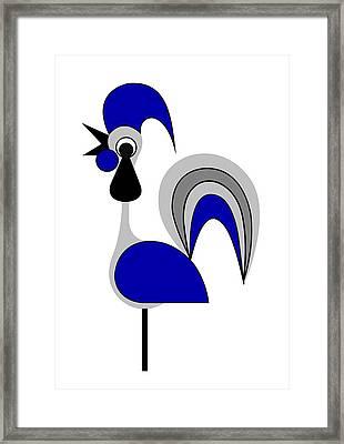 Rooster Gray Framed Print by Asbjorn Lonvig