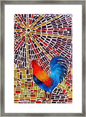 Rooster Mosaic Framed Print
