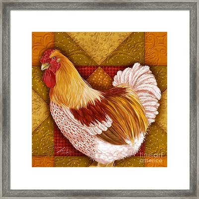 Rooster On A Quilt I Framed Print