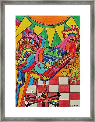 Rooster On Lookout  Framed Print by Carol Hamby