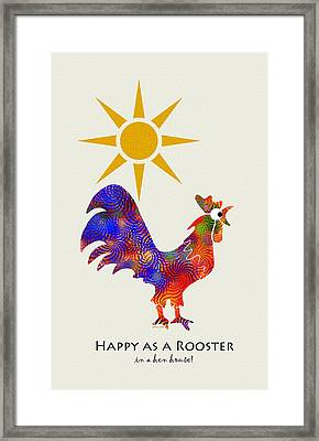 Rooster Pattern Art Framed Print