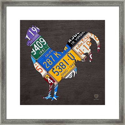 Rooster Recycled License Plate Art On Gray Wood Framed Print by Design Turnpike