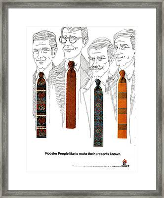 Rooster Ties 1960s Usa Mens Ties Framed Print by The Advertising Archives