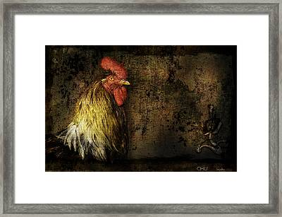 Framed Print featuring the mixed media Rooster With Brush Calligraphy Loyalty by Peter v Quenter